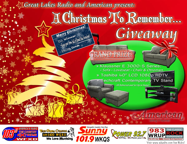 Furniture Set Television TV Giveaway American Marquette Great Lakes Radio Giveaway