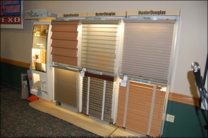 PRIZE envelopes are hidden within Mathews Floor Fashions Sample Display of HunterDouglas Window Treatments