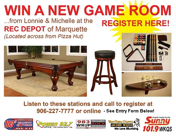 Recreation Depot and Great Lakes Radio Game Game Room Giveaway 2012
