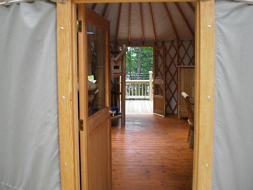 The interior accomodations of the new Keewaydin Lake yurt at Craig Lake State Park.