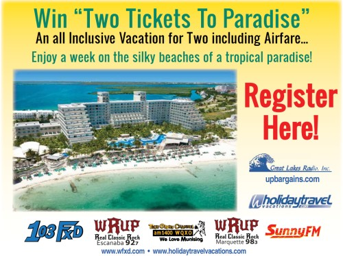"Win ""Two Tickets To Paradise"" from Holiday Travel and Great Lakes Radio, Inc."