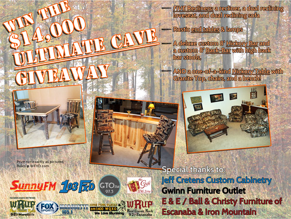 Click here to Win $14,000 in furniture for your ultimate cave!