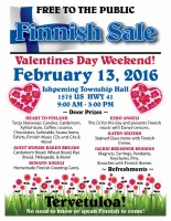 Finnish Sale - Valentines Day Weekend at Ishpeming Township Hall Saturday, February 13th