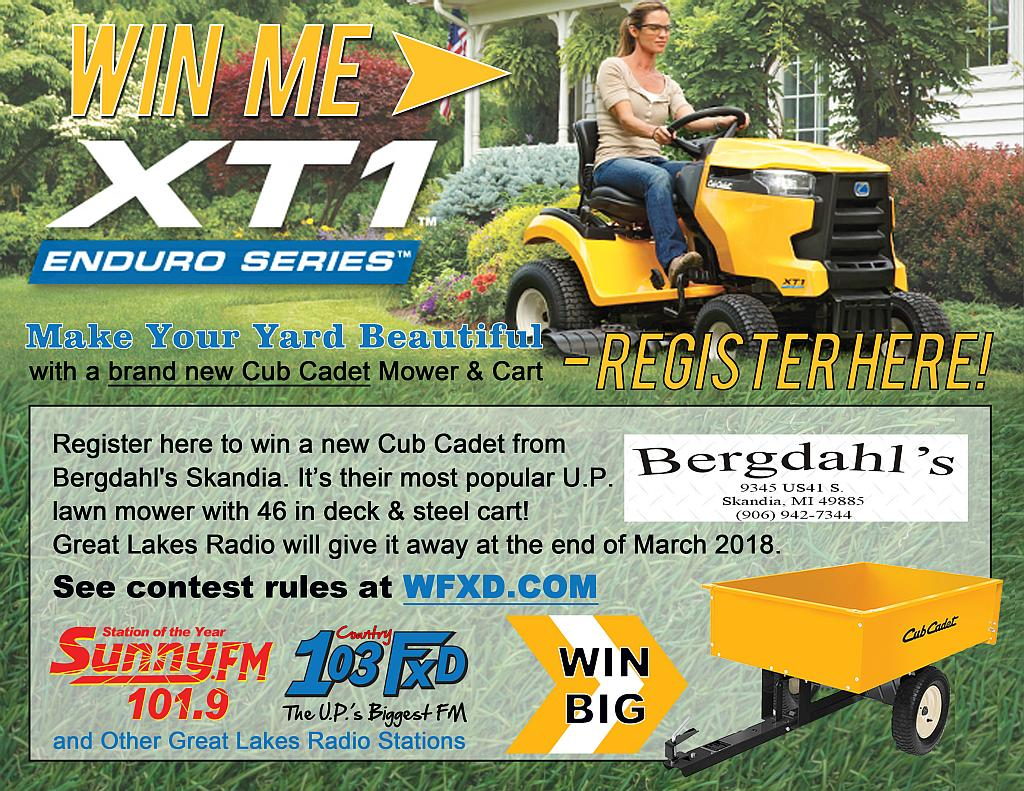 Win a new Cub Cadet from GLR and Bergdahls