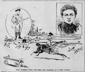 These sketches of Huldah Neal accompanied a profile of her in the Aug. 15, 1897, edition of the Philadelphia Inquirer. Neal's appointment as the country's first female game warden made news across Michigan and the nation. Many contemporary reports expressed confidence in her abilities to perform the dangerous work of a game warden, due to her tenacity and outdoor skills.