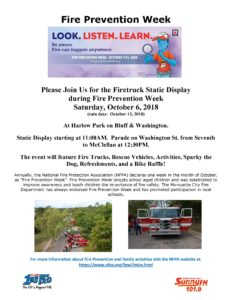 Fire truck display for Fire Prevention Week.