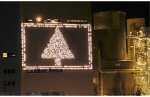 Final Lighting of the Shiras Steam Plant ChristmasTree April 9-11 2021